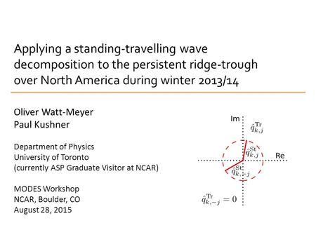 Applying a standing-travelling wave decomposition to the persistent ridge-trough over North America during winter 2013/14 Oliver Watt-Meyer Paul Kushner.