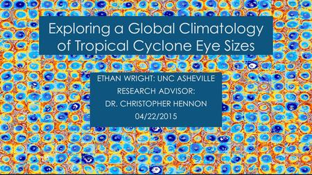 Exploring a Global Climatology of Tropical Cyclone Eye Sizes ETHAN WRIGHT: UNC ASHEVILLE RESEARCH ADVISOR: DR. CHRISTOPHER HENNON 04/22/2015.