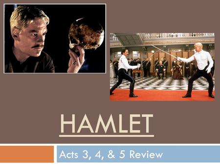 HAMLET Acts 3, 4, & 5 Review. Act 3  Characters:  Hamlet  Claudius  Gertrude  Polonius  Ophelia  Sequencing:  Chronology  Know the order of events.