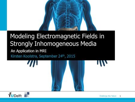1 Challenge the future Modeling Electromagnetic Fields in Strongly Inhomogeneous Media An Application in MRI Kirsten Koolstra, September 24 th, 2015.