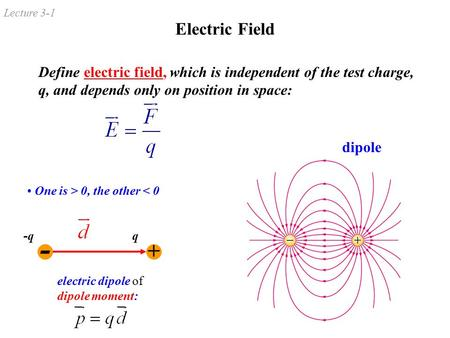 Lecture 3-1 Electric Field Define electric field, which is independent of the test charge, q, and depends only on position in space: dipole One is > 0,