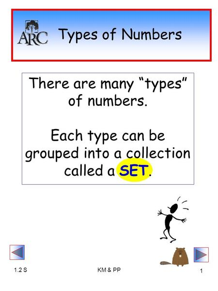 "1.2 SKM & PP 1 Types of Numbers There are many ""types"" of numbers. Each type can be grouped into a collection called a SET."