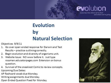 2006-2007 Evolution by Natural Selection Objectives 9/9/11 1.Go over open ended response for Darwin and Test Results – practice outlining correctly. 2.Begin.