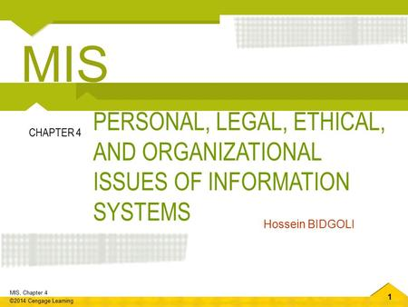 MIS PERSONAL, LEGAL, ETHICAL, AND ORGANIZATIONAL ISSUES OF INFORMATION SYSTEMS CHAPTER 4 Hossein BIDGOLI.
