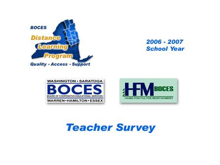 HFM SAN Distance Learning Project Teacher Survey 2006 – 2007 School Year... BOCES Distance Learning Program Quality Access Support.
