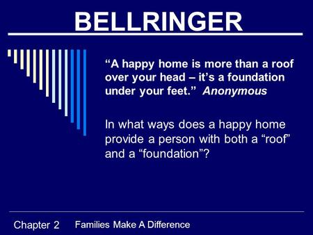 "BELLRINGER ""A happy home is more than a roof over your head – it's a foundation under your feet."" Anonymous In what ways does a happy home provide a person."