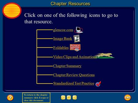 To return to the chapter summary click Escape or close this document. glencoe.com Image Bank Foldables Video Clips and Animations Standardized Test Practice.