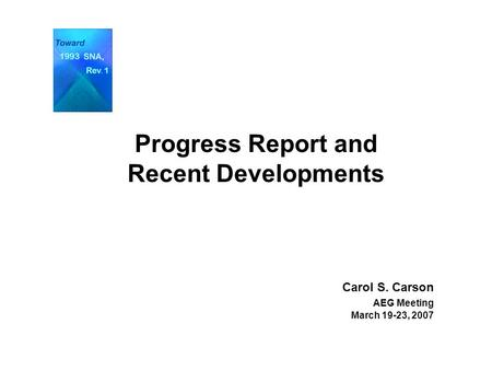 Progress Report and Recent Developments Carol S. Carson AEG Meeting March 19-23, 2007.