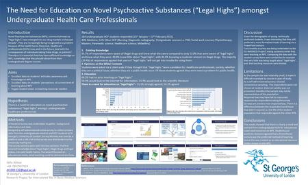 "The Need for Education on Novel Psychoactive Substances (""Legal Highs"") amongst Undergraduate Health Care Professionals Safia Akhtar +44 7867507019"