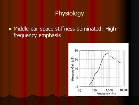 Physiology Middle ear space stiffness dominated: High- frequency emphasis.