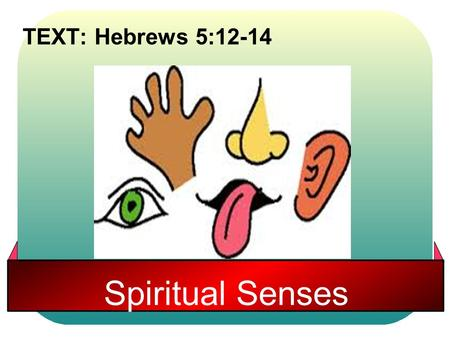 Spiritual Senses TEXT: Hebrews 5:12-14. Hebrews 5:12-14 12 For though by this time you ought to be teachers, you need someone to teach you again the first.