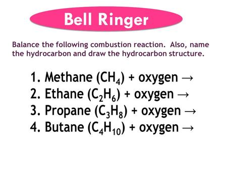 Balance the following combustion reaction. Also, name the hydrocarbon and draw the hydrocarbon structure. Bell Ringer.
