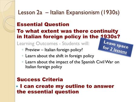 Lesson 2a – Italian Expansionism (1930s)