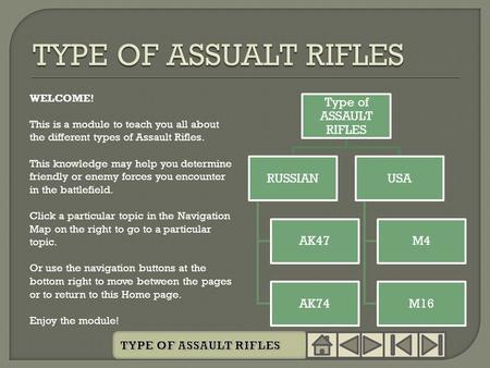 WELCOME! This is a module to teach you all about the different types of Assault Rifles. This knowledge may help you determine friendly or enemy forces.