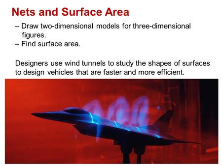 Nets and Surface Area – Draw two-dimensional models for three-dimensional figures. – Find surface area. Designers use wind tunnels to study the shapes.