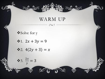 WARM UP. ALGEBRA 3 CHAPTER 9: RATIONAL EQUATIONS AND FUNCTIONS LESSON 2: GRAPHING SIMPLE RATIONAL FUNCTIONS.
