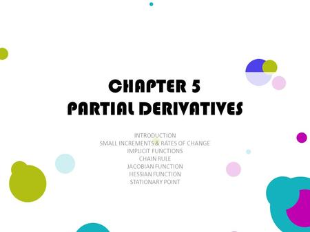 CHAPTER 5 PARTIAL DERIVATIVES