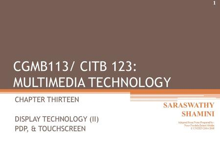 CHAPTER THIRTEEN DISPLAY TECHNOLOGY (II) PDP, & TOUCHSCREEN CGMB113/ CITB 123: MULTIMEDIA TECHNOLOGY 1 SARASWATHY SHAMINI Adapted from Notes Prepared by: