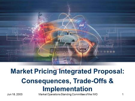 Jun 18, 2003Market Operations Standing Committee of the IMO1 Market Pricing Integrated Proposal: Consequences, Trade-Offs & Implementation.