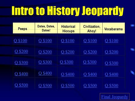 Intro to History Jeopardy Peeps Dates, Dates, Dates! Historical Hiccups Civilization, Ahoy! Vocabarama Q $100 Q $200 Q $300 Q $400 Q $500 Q $100 Q $200.