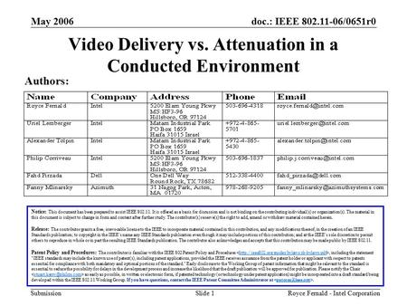 Doc.: IEEE 802.11-06/0651r0 Submission May 2006 Royce Fernald - Intel CorporationSlide 1 Video Delivery vs. Attenuation in a Conducted Environment Notice: