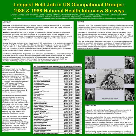 ABSTRACT Objectives: In occupational epidemiologic research, data on current job are often used as surrogate for longest held job and its exposures. We.
