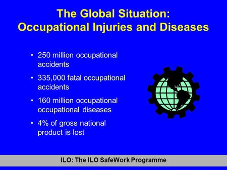 ILO: The ILO SafeWork Programme The Global Situation: Occupational Injuries and Diseases 250 million occupational accidents 335,000 fatal occupational.