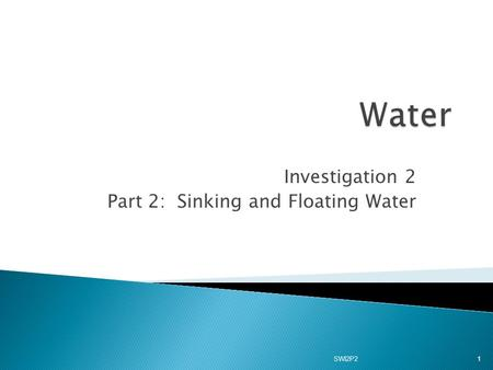 Investigation 2 Part 2: Sinking and Floating Water 1 SWI2P2.