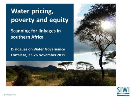 © SIWI | siwi.org Water pricing, poverty and equity Scanning for linkages in southern Africa Dialogues on Water Governance Fortaleza, 23-26 November 2015.