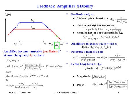 ECES 352 Winter 2007Ch. 8 Feedback – Part 51 Feedback Amplifier Stability *Feedback analysis l Midband gain with feedback l New low and high 3dB frequencies.