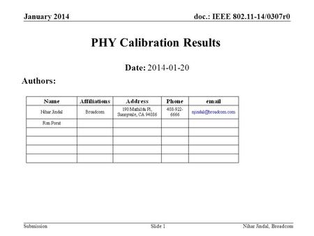 Doc.: IEEE 802.11-14/0307r0 Submission January 2014 Nihar Jindal, Broadcom PHY Calibration Results Date: 2014-01-20 Authors: Slide 1.