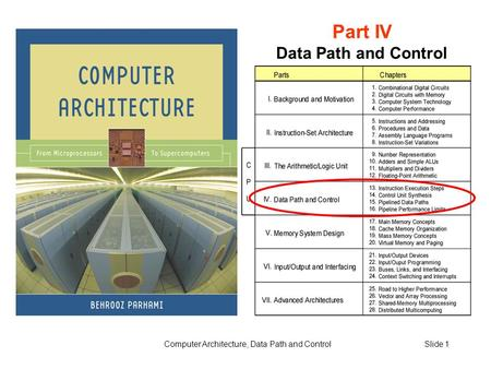 Computer Architecture, Data Path and ControlSlide 1 Part IV Data Path and Control.