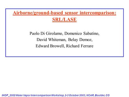 Airborne/ground-based sensor intercomparison: SRL/LASE Paolo Di Girolamo, Domenico Sabatino, David Whiteman, Belay Demoz, Edward Browell, Richard Ferrare.