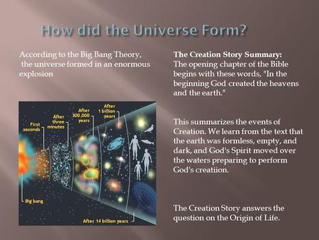 According to the Big Bang Theory, the universe formed in an enormous explosion The Creation Story Summary: The opening chapter of the Bible begins with.