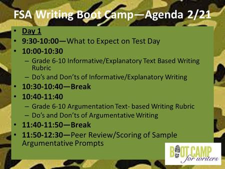 FSA Writing Boot Camp—Agenda 2/21 Day 1 9:30-10:00—What to Expect on Test Day 10:00-10:30 – Grade 6-10 Informative/Explanatory Text Based Writing Rubric.