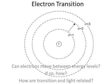 Electron Transition Can electrons move between energy levels? If so, how? How are transition and light related?