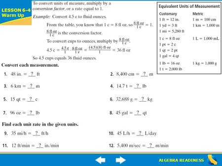 ALGEBRA READINESS LESSON 6-4 Warm Up Lesson 6-4 Warm-Up.