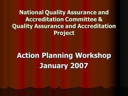 National Quality Assurance and Accreditation Committee & Quality Assurance and Accreditation Project Action Planning Workshop January 2007.