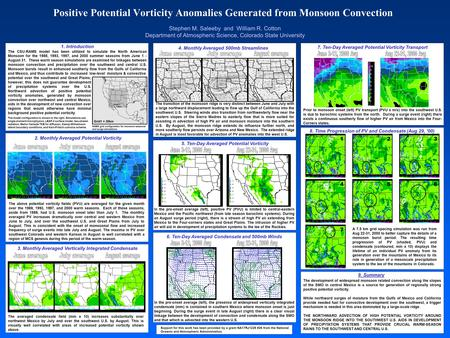 Positive Potential Vorticity Anomalies Generated from Monsoon Convection Stephen M. Saleeby and William R. Cotton Department of Atmospheric Science, Colorado.