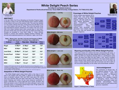 White Delight Peach Series David Byrne and Natalie Anderson Department of Horticultural Sciences, Texas A&M University, College Station, TX 77843-2133,