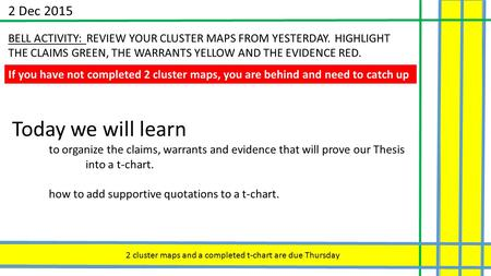 2 Dec 2015 BELL ACTIVITY: REVIEW YOUR CLUSTER MAPS FROM YESTERDAY. HIGHLIGHT THE CLAIMS GREEN, THE WARRANTS YELLOW AND THE EVIDENCE RED. If you have not.