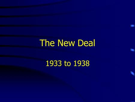 The New Deal 1933 to 1938. President Hoover's Plan Initially called for voluntary action –and raised protective tariff duties Moratorium on the War debt.