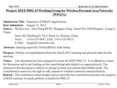 IEEE 802.15-12-0462-00-004N SubmissionLiang Li VinnoSlide 1 Project: IEEE P802.15 Working Group for Wireless Personal Area Networks (WPANs) Submission.
