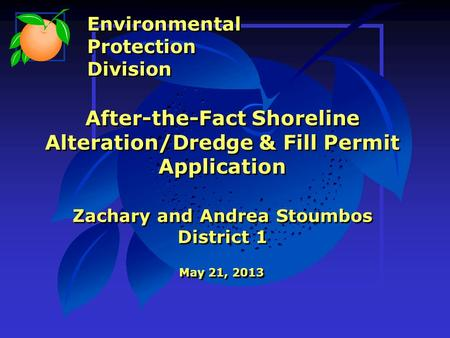 After-the-Fact Shoreline Alteration/Dredge & Fill Permit Application Zachary and Andrea Stoumbos District 1 May 21, 2013 Environmental Protection Division.