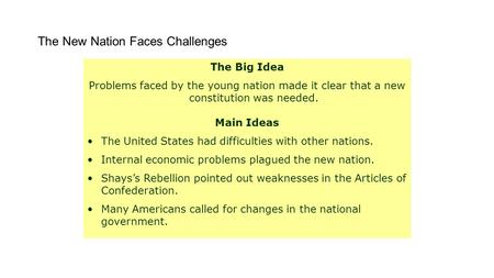 The New Nation Faces Challenges The Big Idea Problems faced by the young nation made it clear that a new constitution was needed. Main Ideas The United.