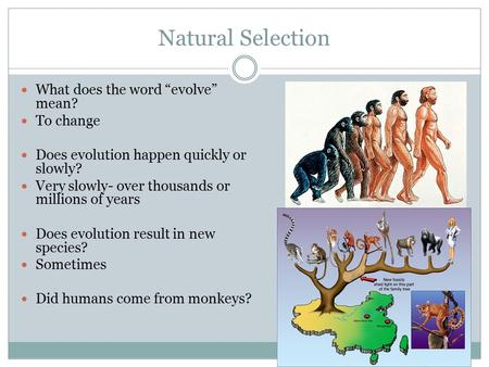 "Natural Selection What does the word ""evolve"" mean? To change"