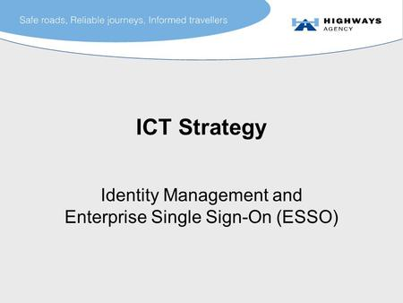 ICT Strategy Identity Management and Enterprise Single Sign-On (ESSO)