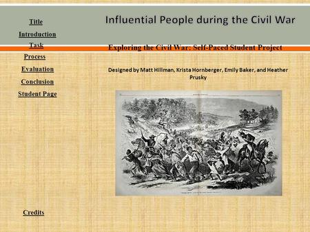 Exploring the Civil War: Self-Paced Student Project Designed by Matt Hillman, Krista Hornberger, Emily Baker, and Heather Prusky Student Page Conclusion.