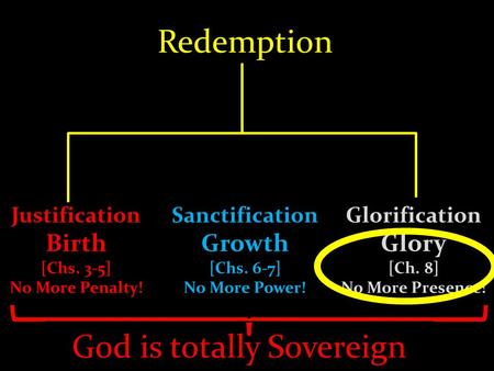 Redemption Justification Birth [Chs. 3-5] No More Penalty! Sanctification Growth [Chs. 6-7] No More Power! Glorification Glory [Ch. 8] No More Presence!