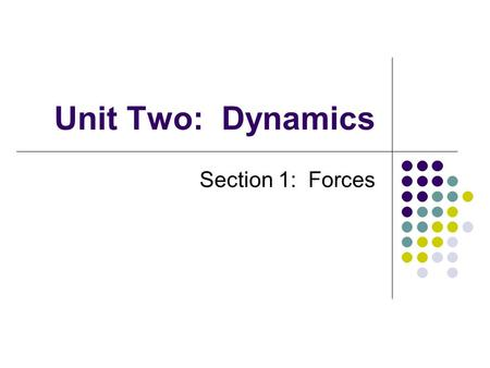 Unit Two: Dynamics Section 1: Forces. Definitions What is the difference between dynamics and kinematics? What is a force? What can a force do? What causes.